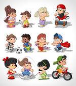 Roztomilý kreslený šťastné děti