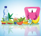 Vegetables fruits flowers and weights EPS10 highly detailed illustration