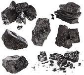 Kolekce černé uhlí izolovaných na bílém pozadí