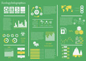 Vector set of infographic elements including 27 icons world map 8 types of diagram diagram concerning to ecologyenergy and sustainable development themes