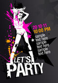Lets Party design template with fashion girl and place for text
