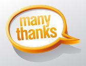 Many thanks shiny glass speech bubble