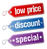 Labels for discount sales.