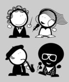 Set of singers funny icons