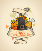 Thanksgiving design in retro style with ribbon and traditional stuffs Eps10