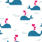 Vector seamless pattern with whale and hearts