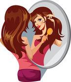 Lány fésülködés a haját, a tükör előtt