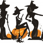 Постер, плакат: Silhouette of three glamour witches