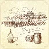 Vinice originální ručně kreslenou kolekce