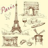 France, paris, eiffel - hand drawn collection