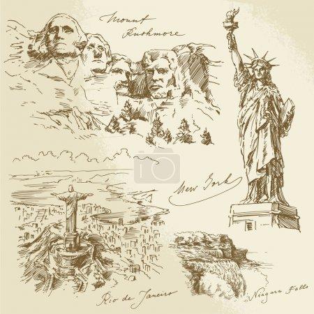 Постер, плакат: American monuments, холст на подрамнике