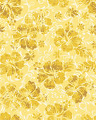 Seamless pattern of hibiscuses with abstract swirl background