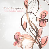 Hand Drawn floral background with flowers, greeting vector card for retro design