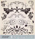 Hand Drawn floral background with flowers greeting vector card for retro design