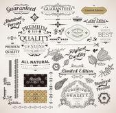 Vector set: elementi di design calligrafico, fiori e cornici retrò, la qualità e la soddisfazione del premio di garanzia etichette di design vintage. vecchio stile, vettore di raccolta