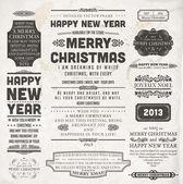 Vánoční dekorace sada kolekce kaligrafických a typografické prvky, rámečky, vintage popisky a hranice. Květinové ornamenty a starý povrch papíru. vše pro rekreační pozvání design