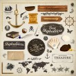 Scrapbooking kit: marine holiday elements collection. Ship, map, moorings, seashells with pearl and wood banners set. Old paper texture and retro frames.