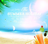 Summer background with sea, sun, ship and Summer holidays elements: cocktail, swim mask, sunglasses, flip flops and palm tree leafs