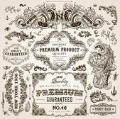 Vector set of calligraphic design elements: page decoration, Premium Quality and Satisfaction Guarantee Label, antique and baroque frames and floral ornaments
