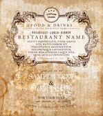 Restaurant label design with old floral frame for vintage menu design