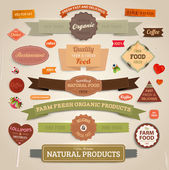 Set of vector labels, banners and ribbons for organic, fresh and farm products design, paper texture