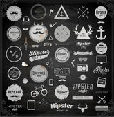Hipster style infographics elements and icons set for retro design With bicycle phone sunglasses mustache bow anchors apple and camera Vector illustration Chalkboard variant