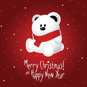 Christmas postcard with white teddy bear on snowy red background