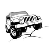 Monochrome detailed cartoon off-road jeep climbing rocks isolated on white background