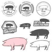 Set of premium pork labels badges and design elements
