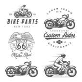 Sada retro motocykl štítky, odznaky a prvky návrhu