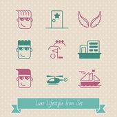 Luxe lifestyle funny icon set EPS 8