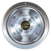 Combination lock with keyhole Typically found on a bank or gun safe Dial operation is fully detailed along with an accurate keyhole Security symbol