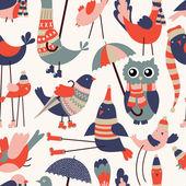 Vektorové bezešvé vzor s roztomilé kreslené ptáky