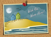 Vector illustration of a postcard pinned onto a corkboard Postcard depicts beach huts by the water in the Day time Retro colors used