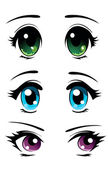 Set of eyes in manga and anime style