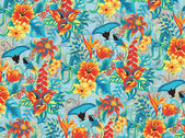 Seamless tropical pattern with birds
