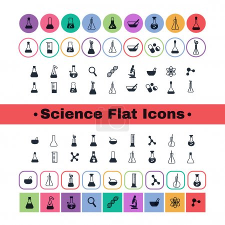 Постер, плакат: Flat icon science, холст на подрамнике