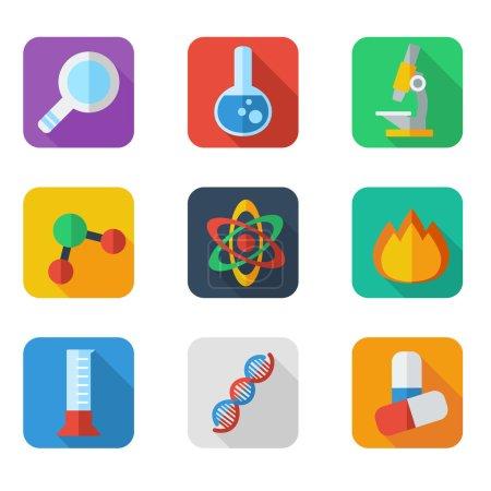 Постер, плакат: Flat icon science, холст на подрамнике