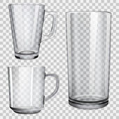 Two transparent glass cups and one glass for juice On checkered background