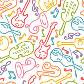 Vector musical instruments seamless pattern background with hand drawn elements