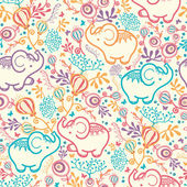 Vector Elephants With Flowers Seamless Pattern Background Cut hand drawn and colorful elements
