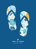 Vector blue and yellow flower silhouettes flip flops decor pattern background on dark blue