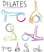 Pilates osztály - színű vektor