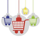 Christmas and black friday shopping carts with gift packs vector illustration background