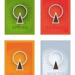 Постер, плакат: Vector posters Four year seasons Seasonal posters with stylize