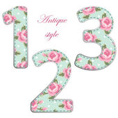 Fabric numbers with roses in shabby chic style isolated on white background