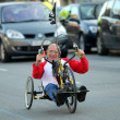 Постер, плакат: Athlete with mobility disabilities running in Barcelona
