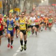 Постер, плакат: Barcelona street crowded of athletes