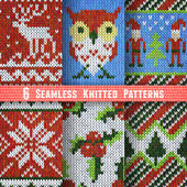 Set of Six Seamless Knitted Patterns Vector illustration eps10