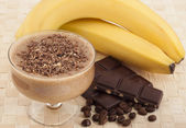 Exotic tropical smoothie of banana and coffee.